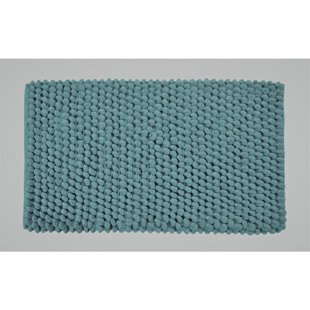 Saffron Fabs Bubbles Pattern 36 In X 24 Cotton And Microfiber Blue Latex Spray Non Skid Backing Bath Rug