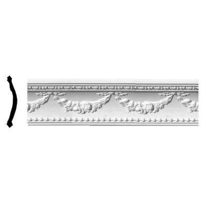 8 in. x 6-3/8 in. x 95-5/8 in. Polyurethane Floral Swag Crown Moulding