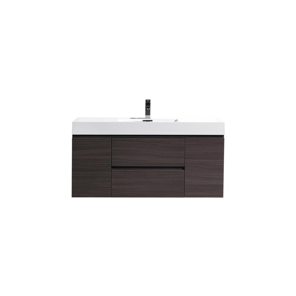 Fortune 48 in. W Bath Vanity in Dark Gray Oak with Reinforced Acrylic Vanity Top in White with White Basin