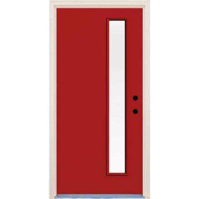 36 in. x 80 in. Left-Hand Engine 1 Lite Clear Glass Painted Fiberglass Prehung Front Door with Brickmould