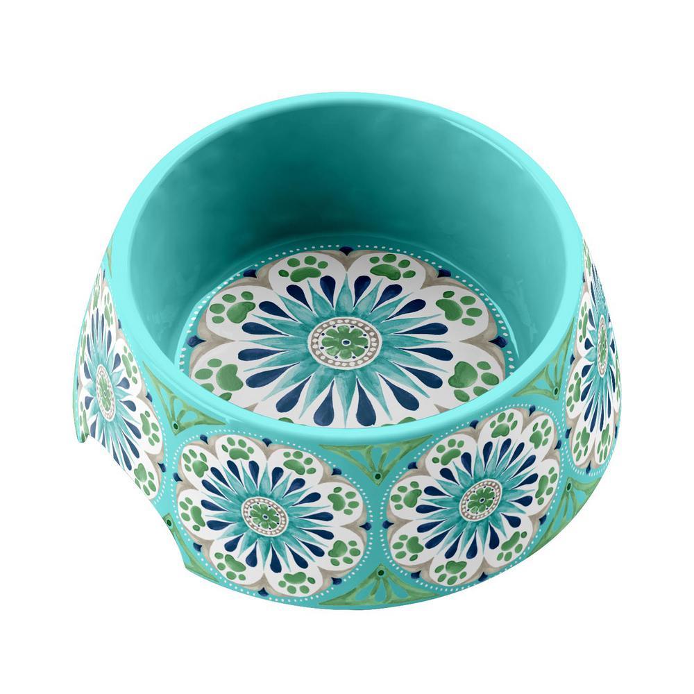 Carmel Medallion Medium Pet Bowl in Turquoise