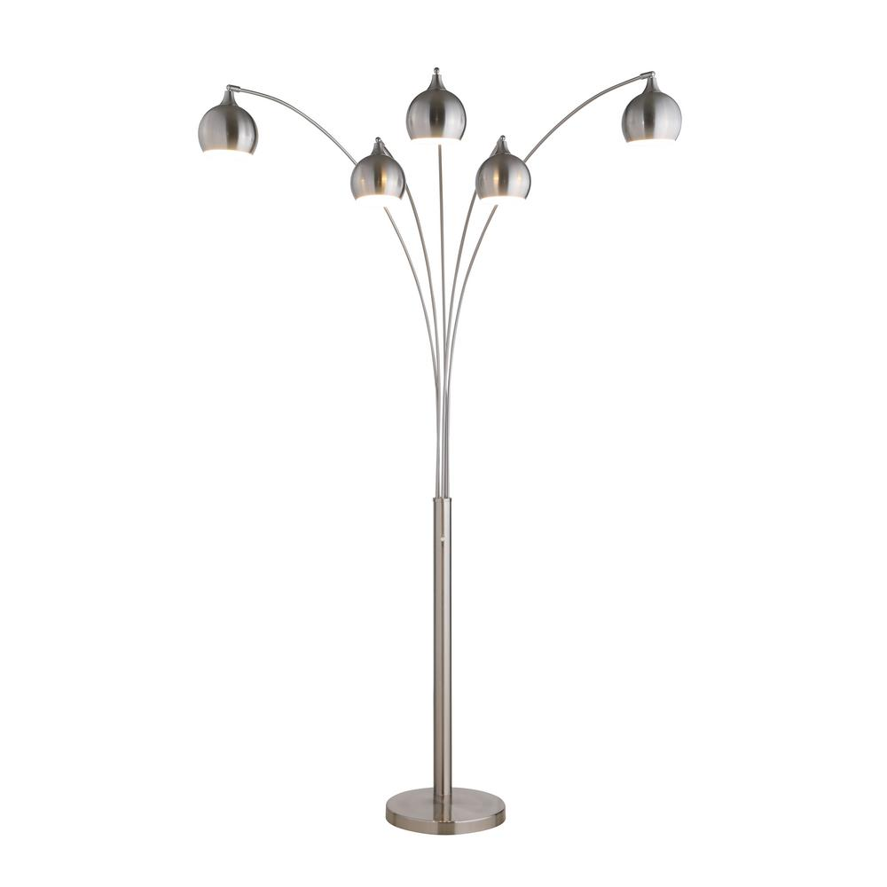 Artiva Amore 86 In Brushed Nickel Led Arc Floor Lamp With Dimmer