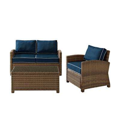 Bradenton 3-Piece Outdoor Wicker Seating Set with Navy Cushions - Loveseat, Arm Chair and Glass Top Table