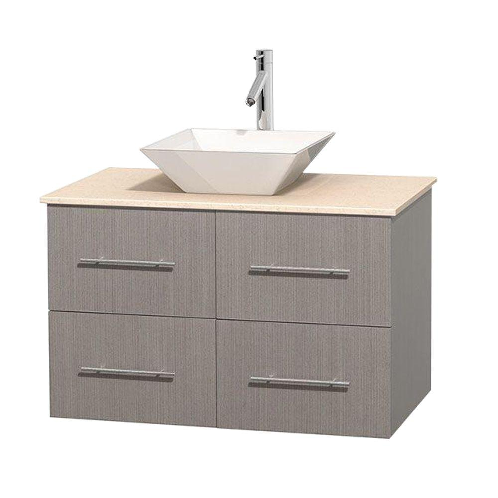 Wyndham Collection Centra 36 in. Vanity in Gray Oak with Marble Vanity Top in Ivory and Porcelain Sink