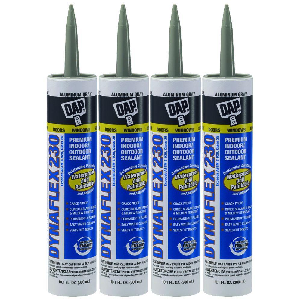 DAP 10.1 oz. Aluminum Gray Dynaflex 230 Premium Indoor/Outdoor Sealant (4-Pack)-DISCONTINUED