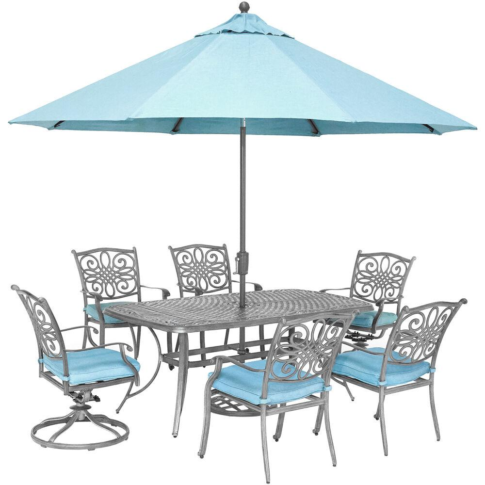 Breckenridge 4 Piece Patio Furniture Set Two Swivel: Hanover Traditions 7-Piece Aluminum Outdoor Dining Set