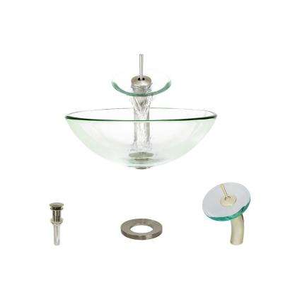 Glass Vessel Sink in Crystal with Waterfall Faucet and Pop-Up Drain in Brushed Nickel