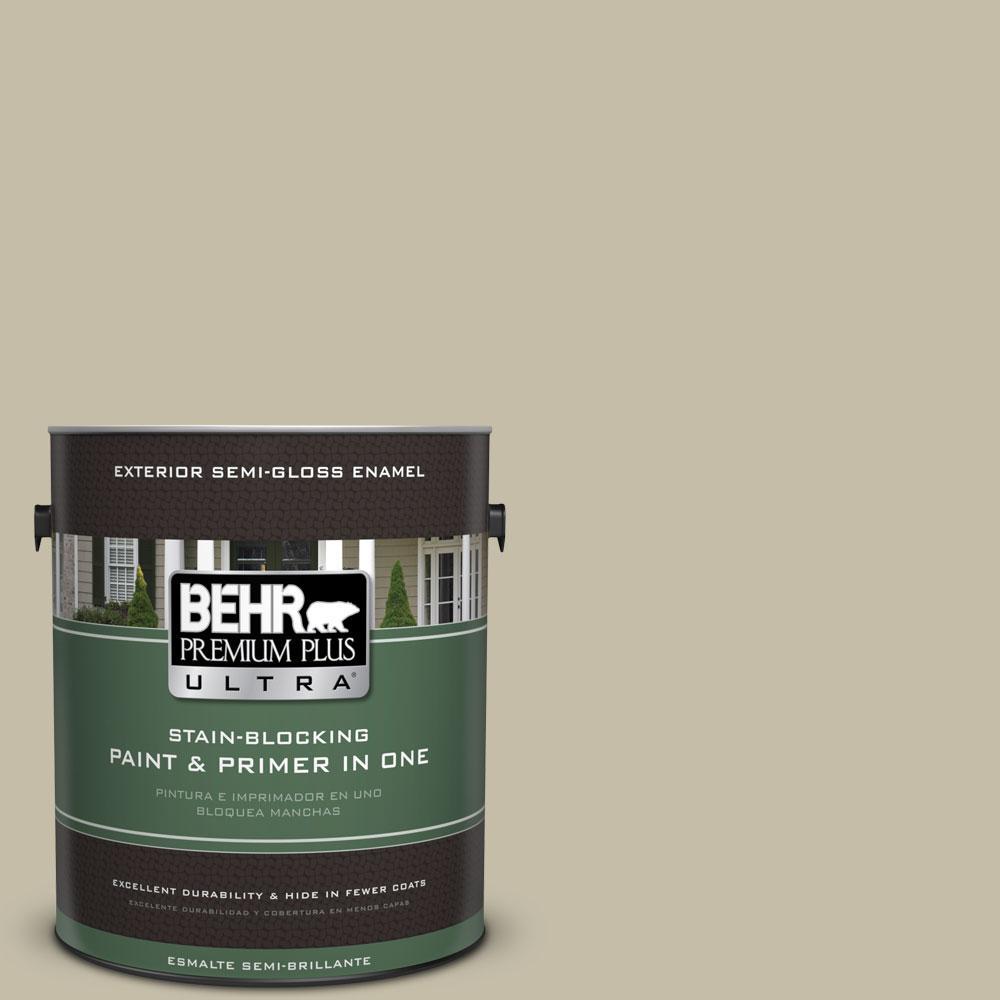 BEHR Premium Plus Ultra 1-gal. #PPU8-18 Celery Powder Semi-Gloss Enamel Exterior Paint