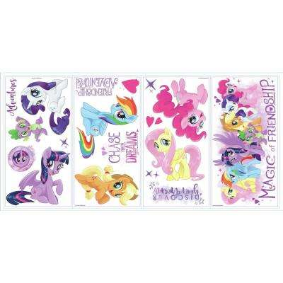 5 in. x 11.5 in. 18-Piece My Little Pony The Movie Peel And Stick Wall Decals with Glitter