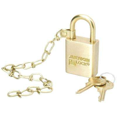 Solid Brass Case Padlock with Chain - 5/Set