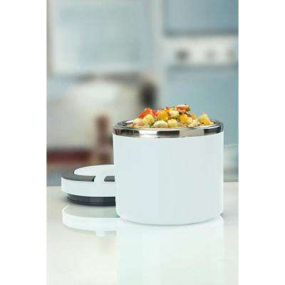 Kitchen Details Round Twist Stainless Steel White Insulated Lunch Box