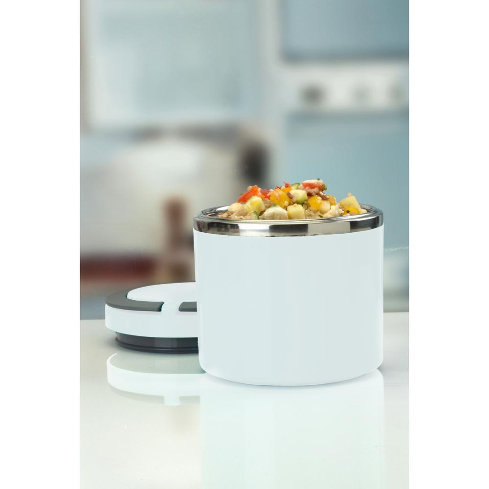 Kitchen Details Round Twist Stainless Steel White Insulated Lunch Box