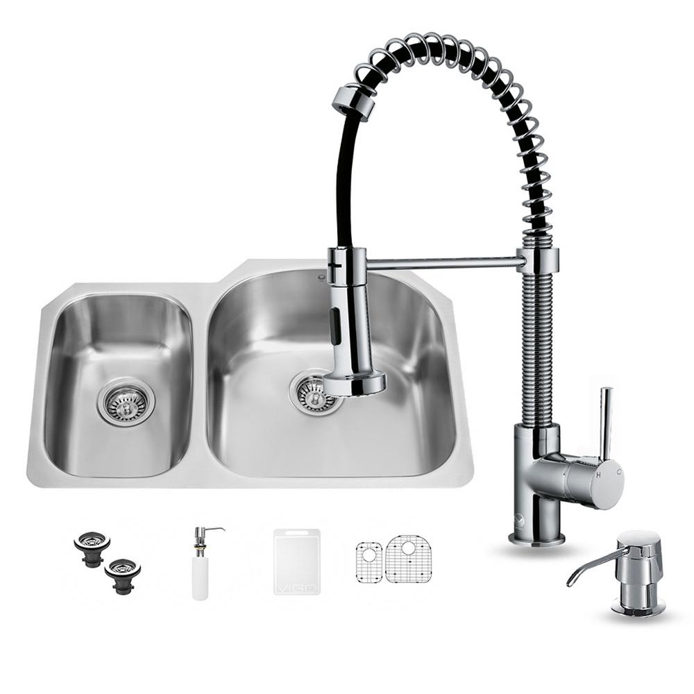 kitchen sink tap sets vigo all in one undermount stainless steel 31 in 5984