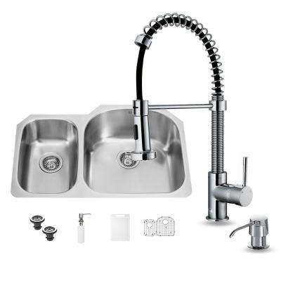 All-in-One Undermount Stainless Steel 31 in. Double Bowl Kitchen Sink with Faucet Set in Chrome