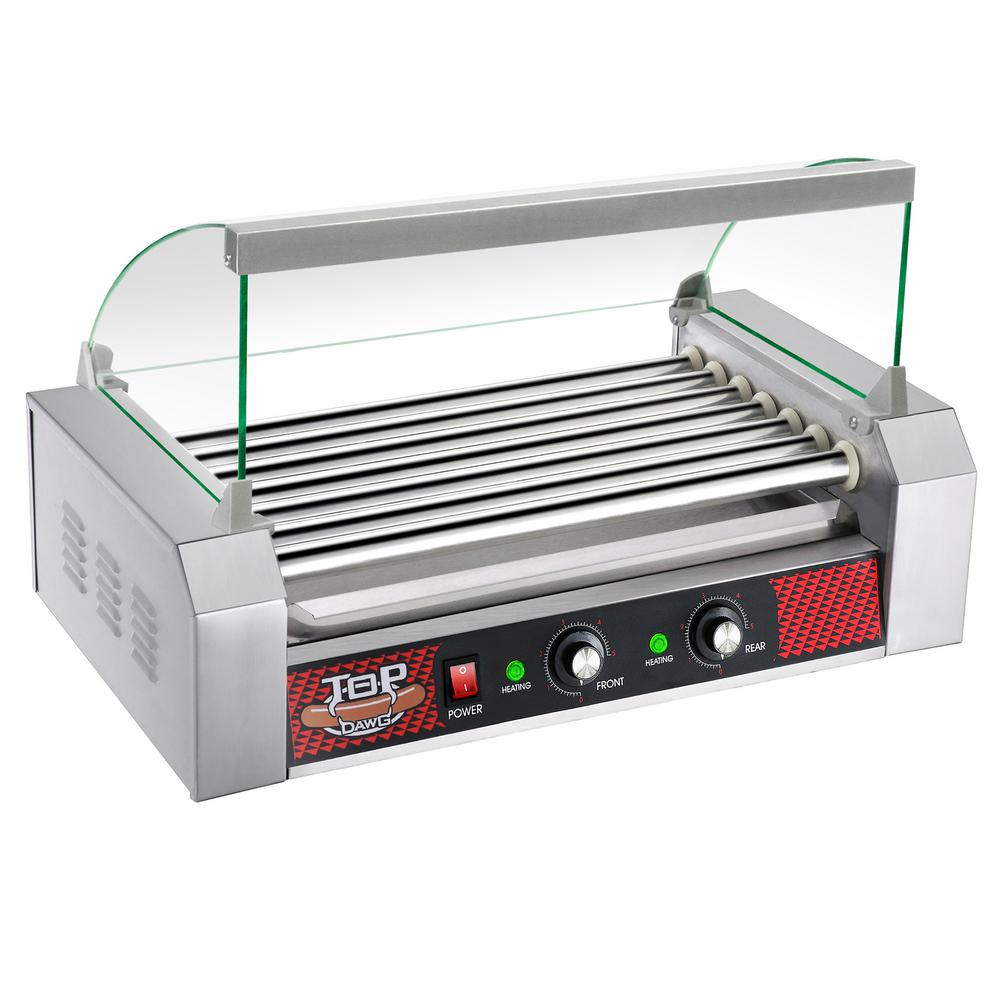 Great Northern Great Northern Commercial 1400-Watts 18-Hot Dog 7-Roller Grilling Machine with Cover, Silver