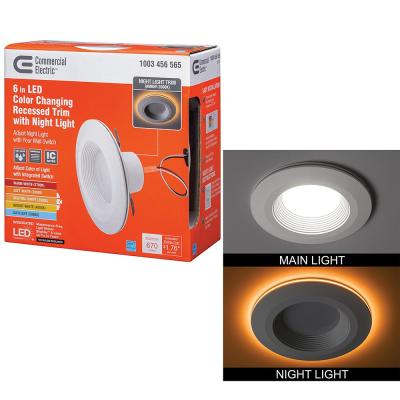 6 in. Selectable CCT Integrated LED Recessed Light Trim with Night Light Feature 670 Lumens 11 Watts Dimmable