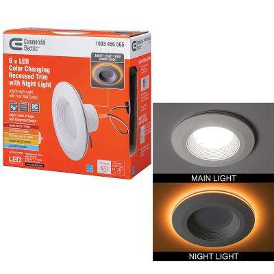 6 in. Selectable Integrated LED Recessed Trim Can Light with Night Light Feature 5 CCT 670 Lumens 11 Watts Dimmable
