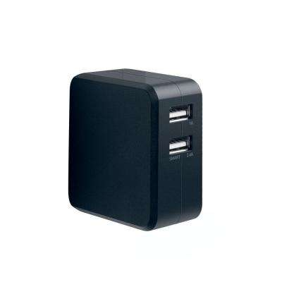 Duo 3.4 Amp High-Speed Dual USB Wall Charger with Foldable Plug - Black