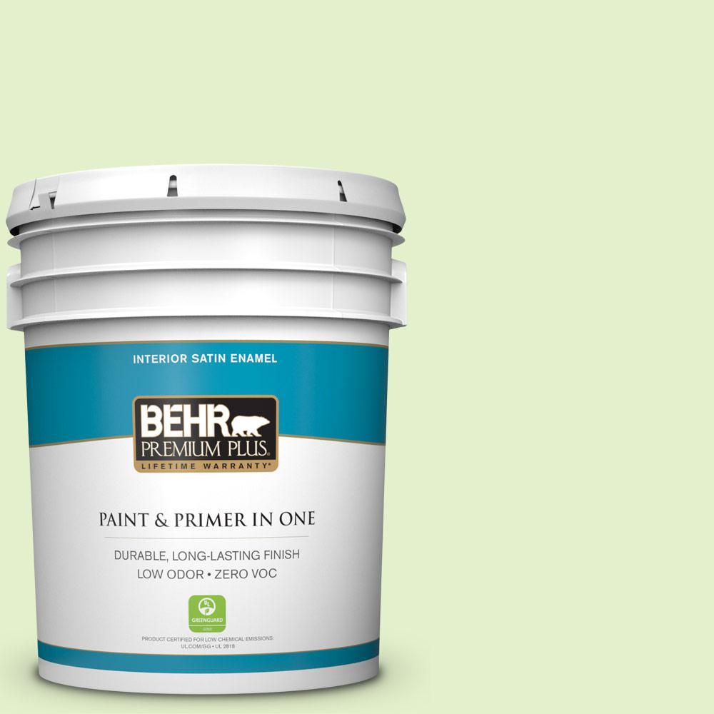 BEHR Premium Plus 5-gal. #420C-2 Water Sprout Zero VOC Satin Enamel Interior Paint