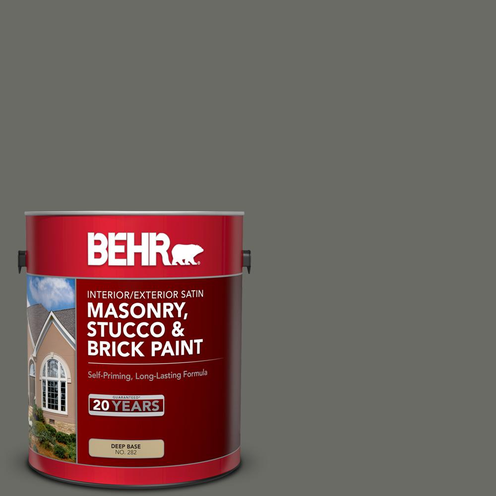 Groovy Behr 1 Gal Ppu18 18 Mined Coal Satin Interior Exterior Masonry Stucco And Brick Paint Home Remodeling Inspirations Gresiscottssportslandcom