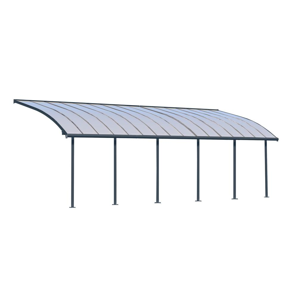 Palram Joya 10 Ft X 30 Ft Grey Patio Cover Awning 704458 The