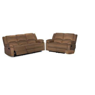 2-Piece Brown Sofa Set