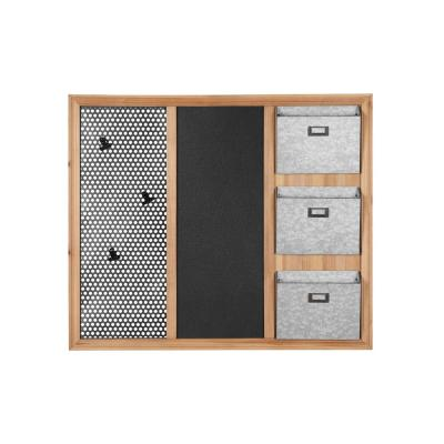 30 in. H x 35 in. W x 3 in. D StyleWell Wood, Black and Silver Metal Wall-Mount Wall Organizer