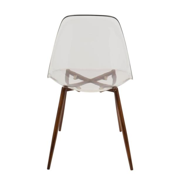 Lumisource - Clara Mid-Century Clear Acrylic and Walnut Modern Dining Chair (Set of 2)