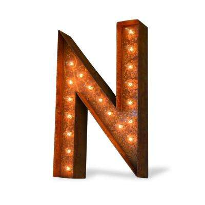 24 in. High Rusted Steel Alphabet Letter N Plug-In Marquee Lights