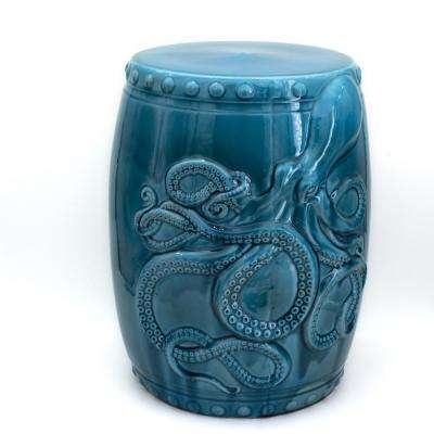 Grotto Aqua Kraken Ceramic Barrel Stool