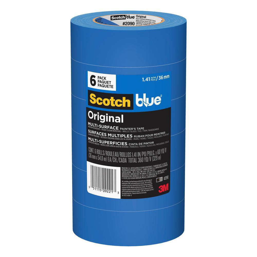 3M ScotchBlue 1.41 in. x 60 yds. Original Multi-Surface Painter's Tape (6-Pack)