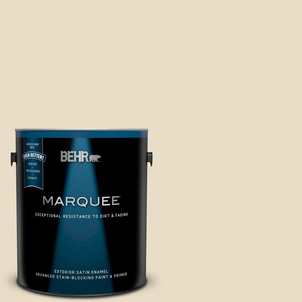 Behr Marquee 1 Gal 22 Navajo White Satin Enamel Exterior Paint And Primer In