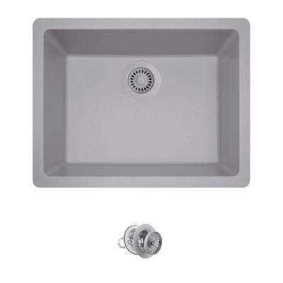 All-in-One Dualmount Composite 22 in. Single Bowl Kitchen Sink in Silver