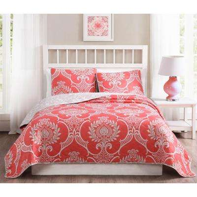 Pomeroy 3-Piece Coral Reversible King Quilt Set