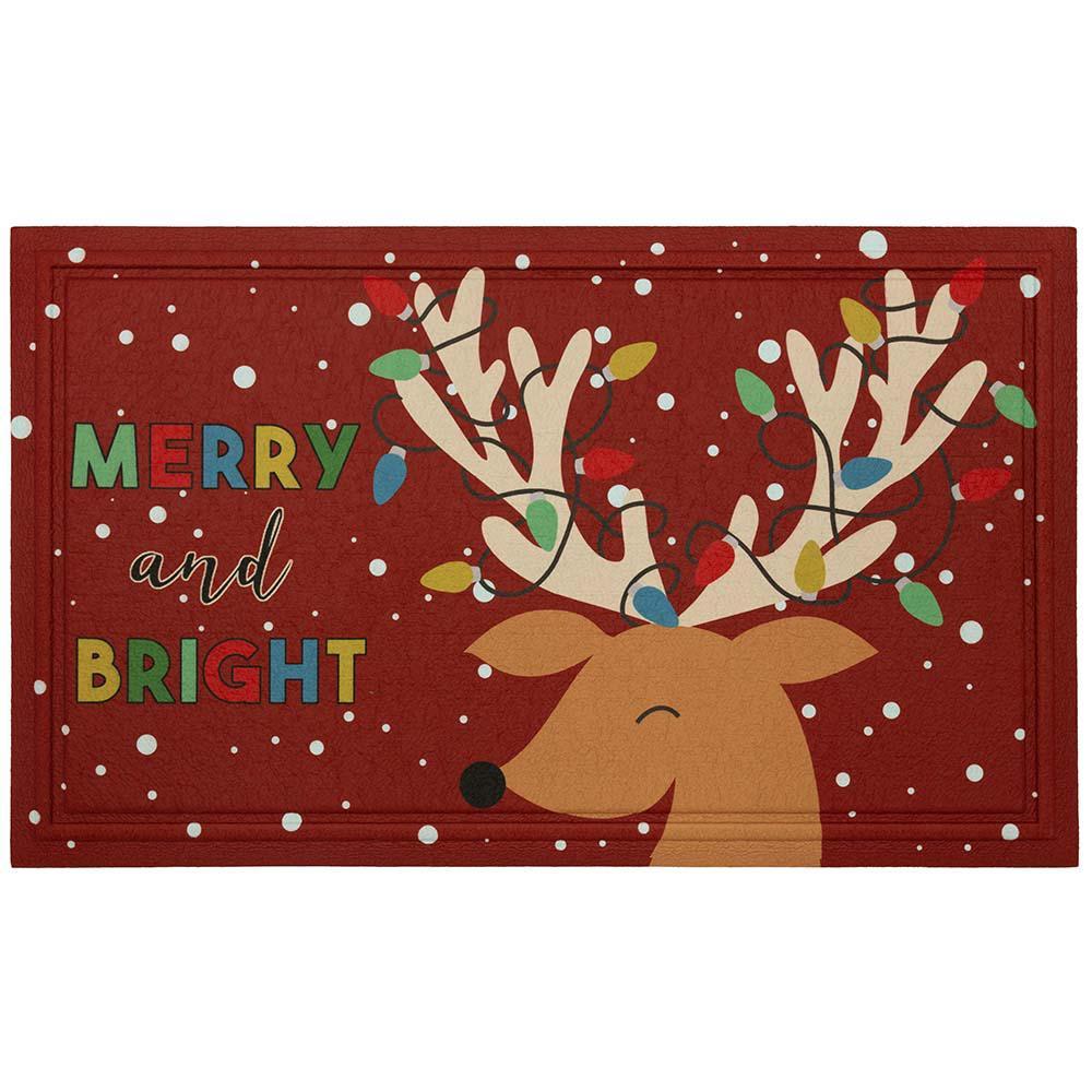 Reindeer Molded Elegant Entry 18 in. x 30 in. Holiday Door Mat
