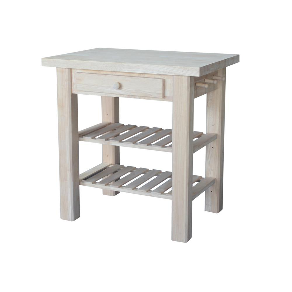 InternationalConcepts International Concepts Unfinished Kitchen Utility Table with Drawer