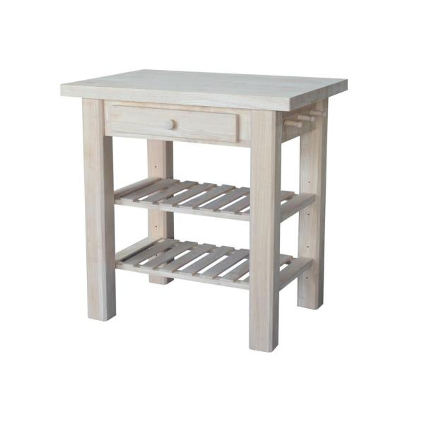 International Concepts Unfinished Kitchen Utility Table with Drawer