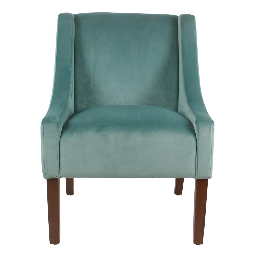 Aqua Teal Turquoiaw Velvet Accent Chair: Homepop Light Aqua Velvet Modern Velvet Swoop Arm Accent