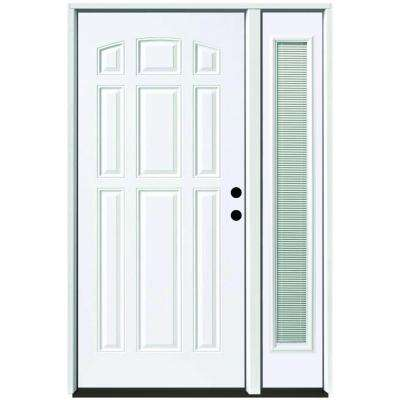 53 in. x 80 in. 9-Panel Primed White Left-Hand Steel Prehung Front Door with 14 in. Mini Blind Sidelite 4 in. Wall