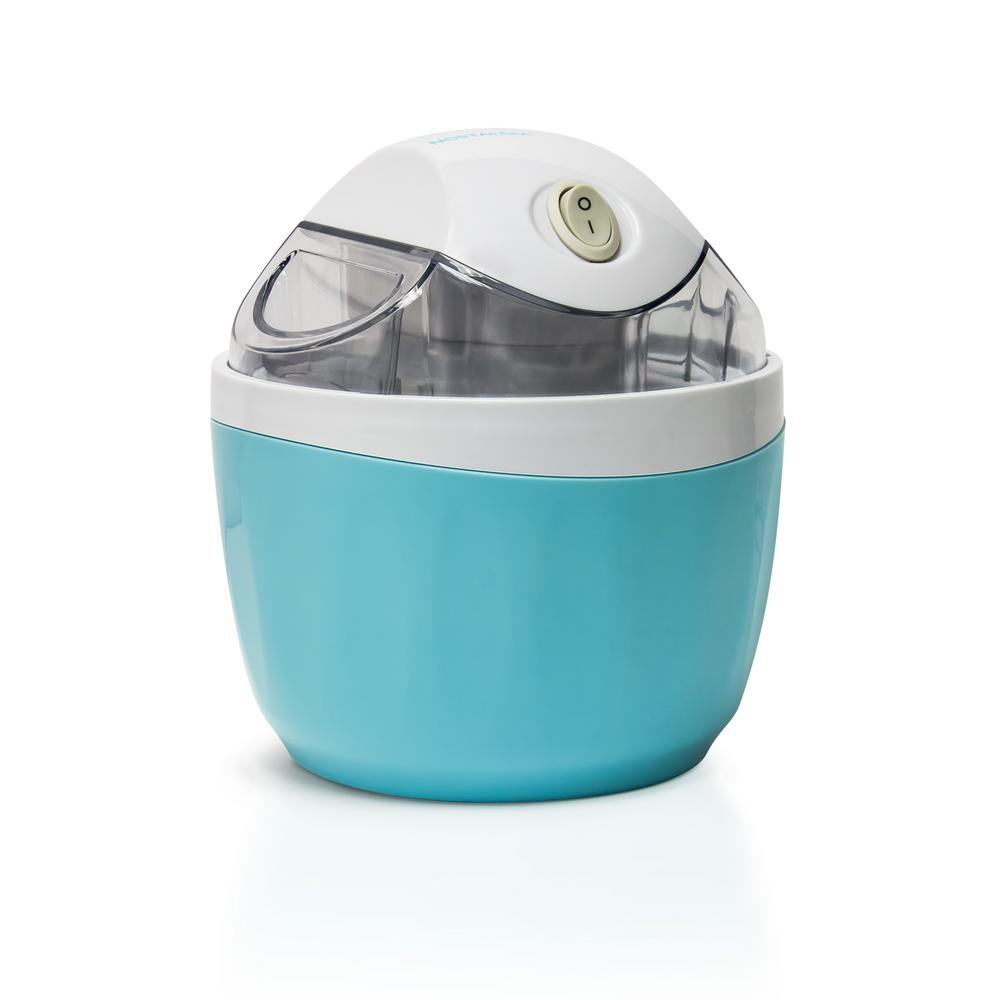 Nostalgia 0.5 Qt. Aqua Electric Ice Cream Maker, Blue Bring the ice cream shoppe into the kitchen. Simply freeze the canister, then fill with fresh ingredients, and in about 30 minutes wonderful ice cream will be ready to serve - no ice or salt needed. Right before it's done, use the ingredient chute to add cookie dough, candy piece or nuts to customize your ice cream creation. Color: Aqua.