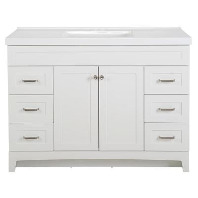 Thornbriar 49 in. W x 22 in. D x 37 in. H Bath Vanity in White with Cultured Marble Vanity Top in White