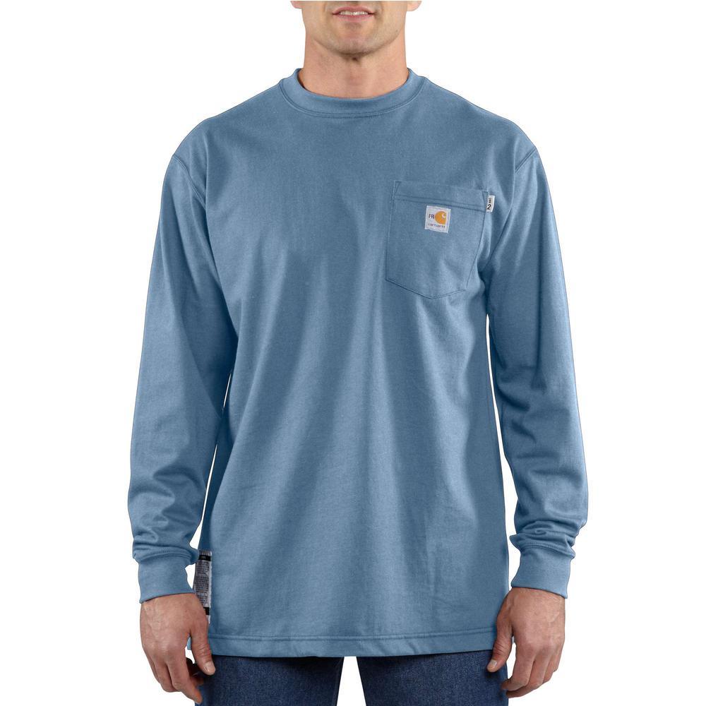 Men's Regular Large Medium Blue FR Force Cotton Long Sleeve T-Shirt