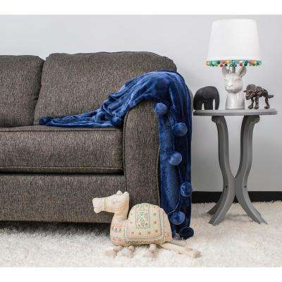 Zadie Blue Pom Throw
