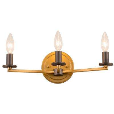 Elwood 3-Light Antique Gold with Rustic Bronze Bath Light