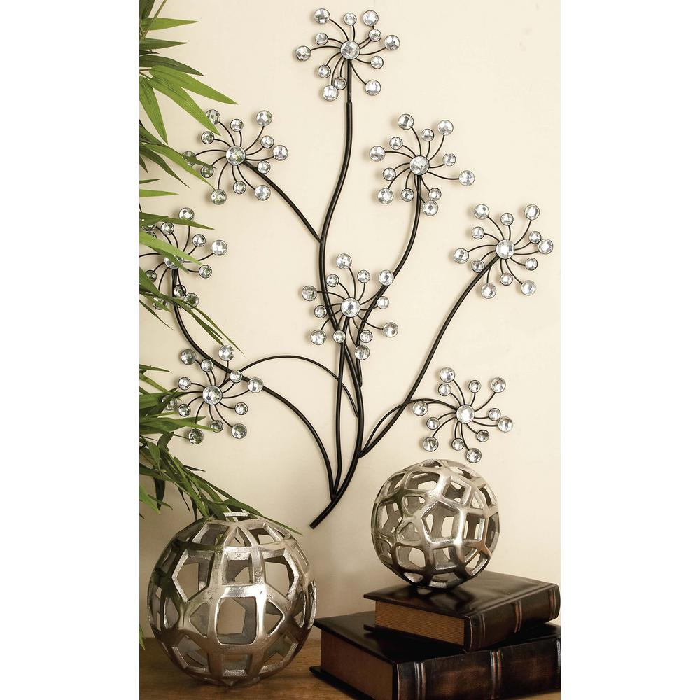 23 in. x 28 in. Glitz-Inspired Iron Floral Branches Wall Decor