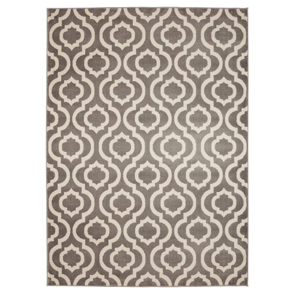 Ottomanson Contemporary Moroccan Trellis Gray 5 Ft. X 7 Ft