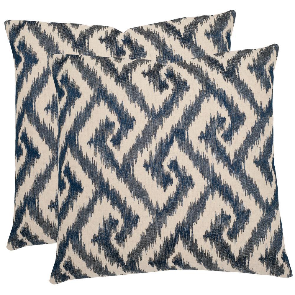Teddy Blue Geometric Down Alternative 18 in. x 18 in. Throw Pillow (Set of 2)