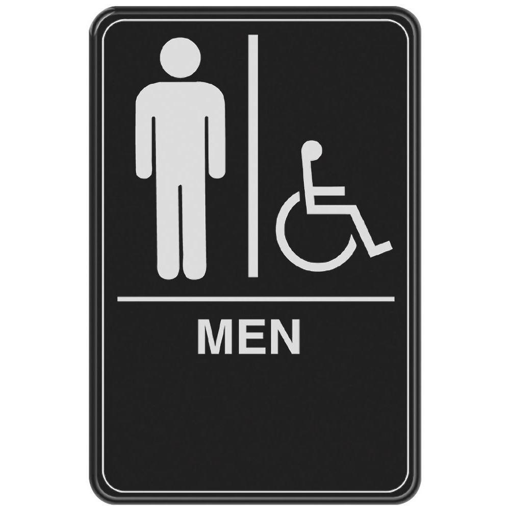 In X In Men With Handicap Accessible Symbol Acrylic Restroom - Handicap unisex bathroom signs