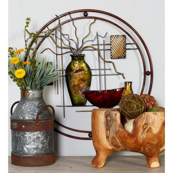 Awesome Iron Multicolor Circular Framed Still Life Metal Work Complete Home Design Collection Barbaintelli Responsecom