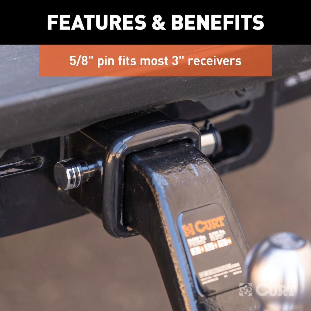 Fits 3-Inch Receiver CURT 23025 Trailer Hitch Lock 5//8-Inch Pin Diameter
